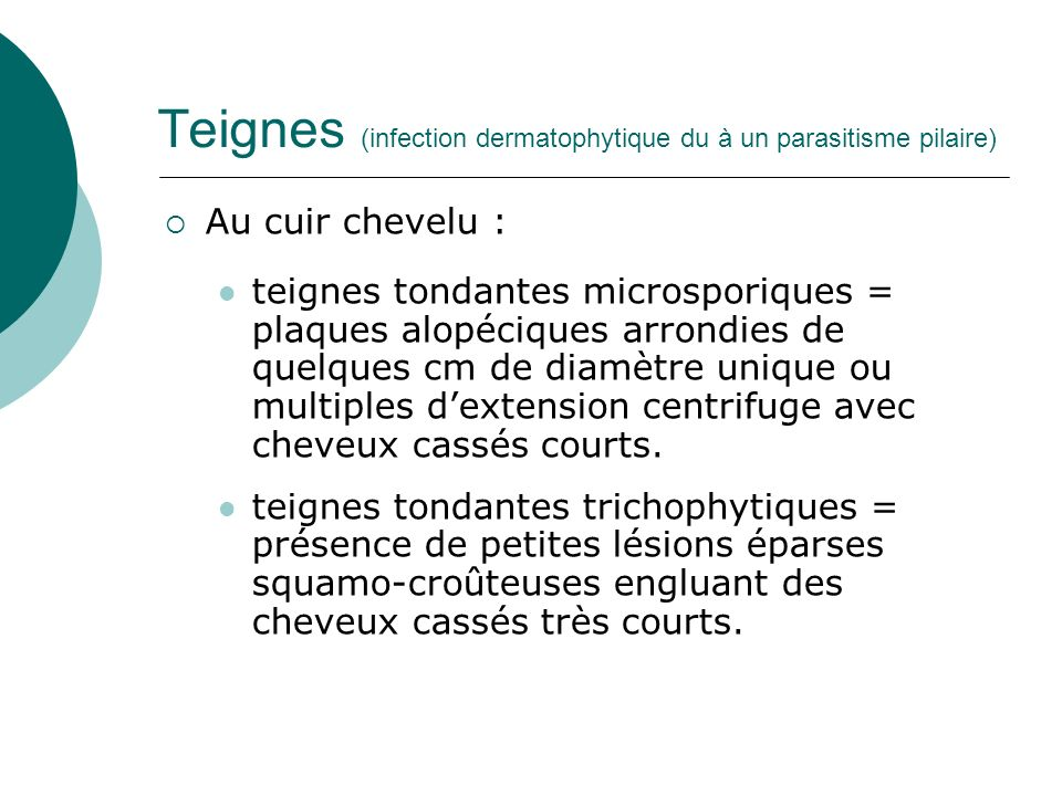Teignes (infection dermatophytique du à un parasitisme pilaire)