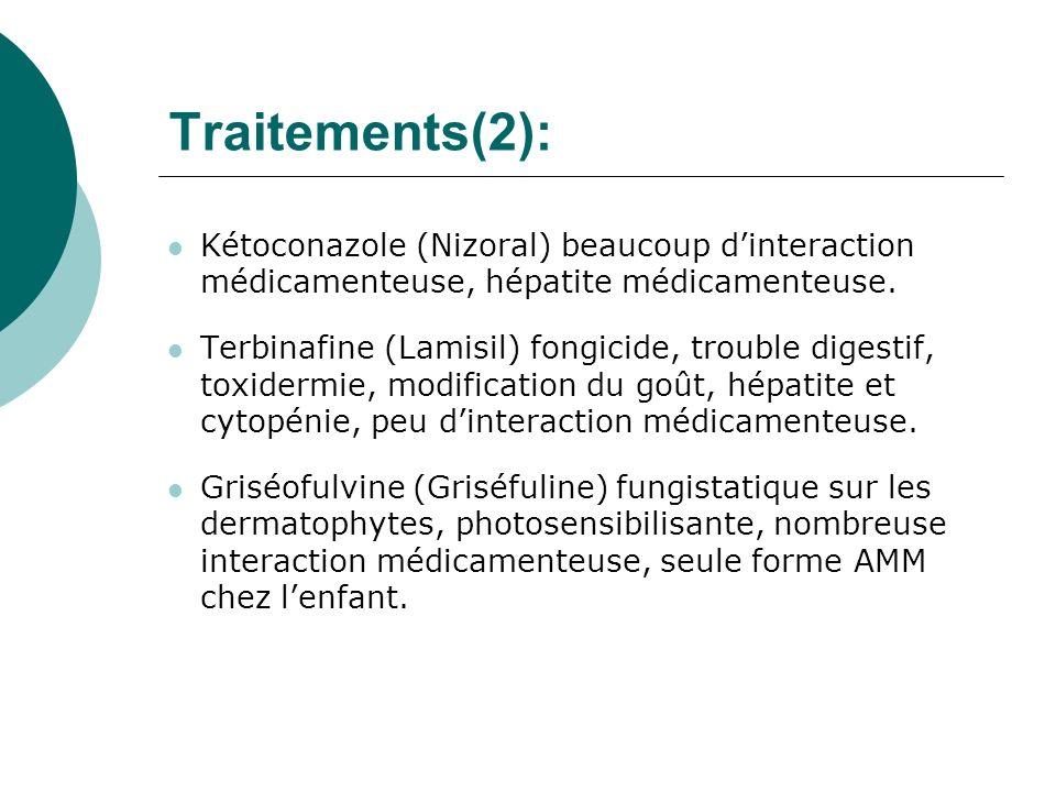 Traitements(2): Kétoconazole (Nizoral) beaucoup d'interaction médicamenteuse, hépatite médicamenteuse.