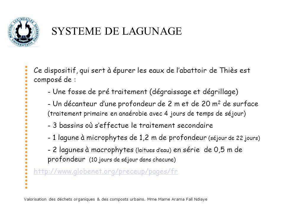 SYSTEME DE LAGUNAGECe dispositif, qui sert à épurer les eaux de l'abattoir de Thiès est composé de :