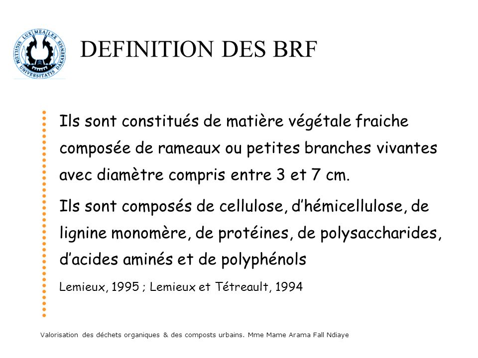 DEFINITION DES BRF