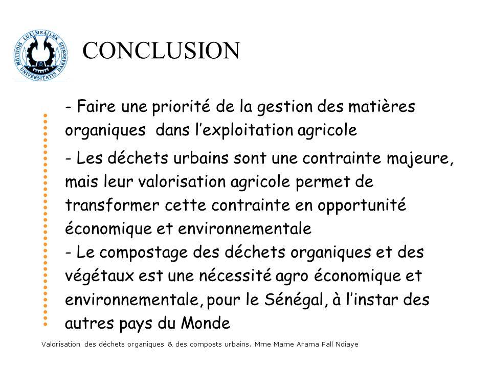 CONCLUSION - Faire une priorité de la gestion des matières organiques dans l'exploitation agricole.