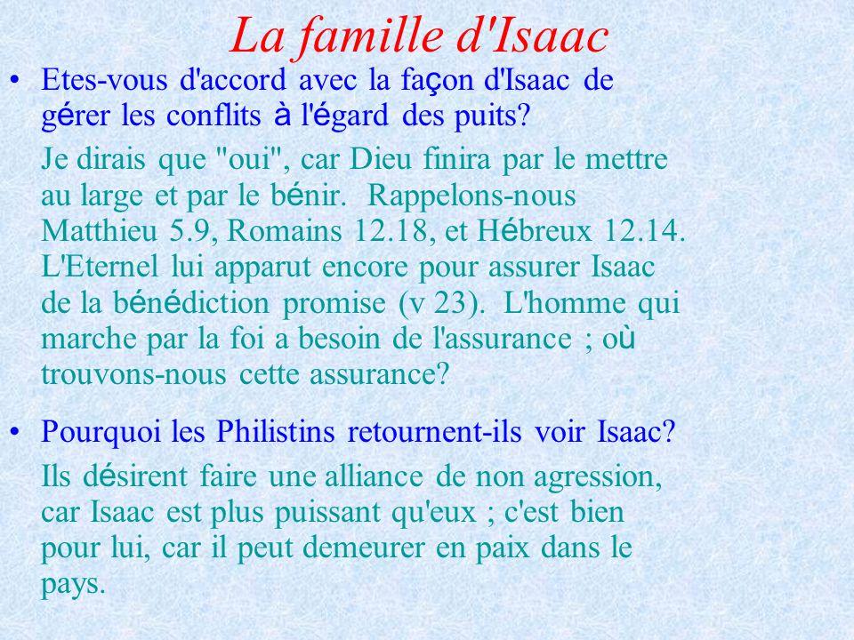 La famille d Isaac Etes-vous d accord avec la façon d Isaac de gérer les conflits à l égard des puits