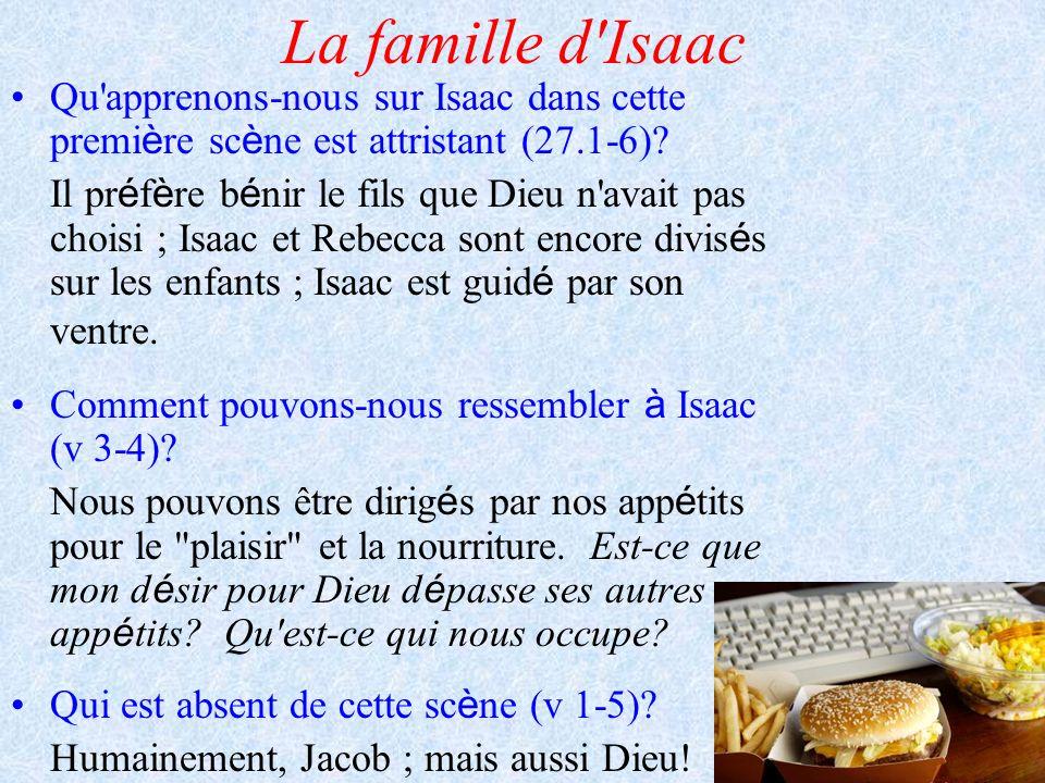 La famille d Isaac Qu apprenons-nous sur Isaac dans cette première scène est attristant (27.1-6)