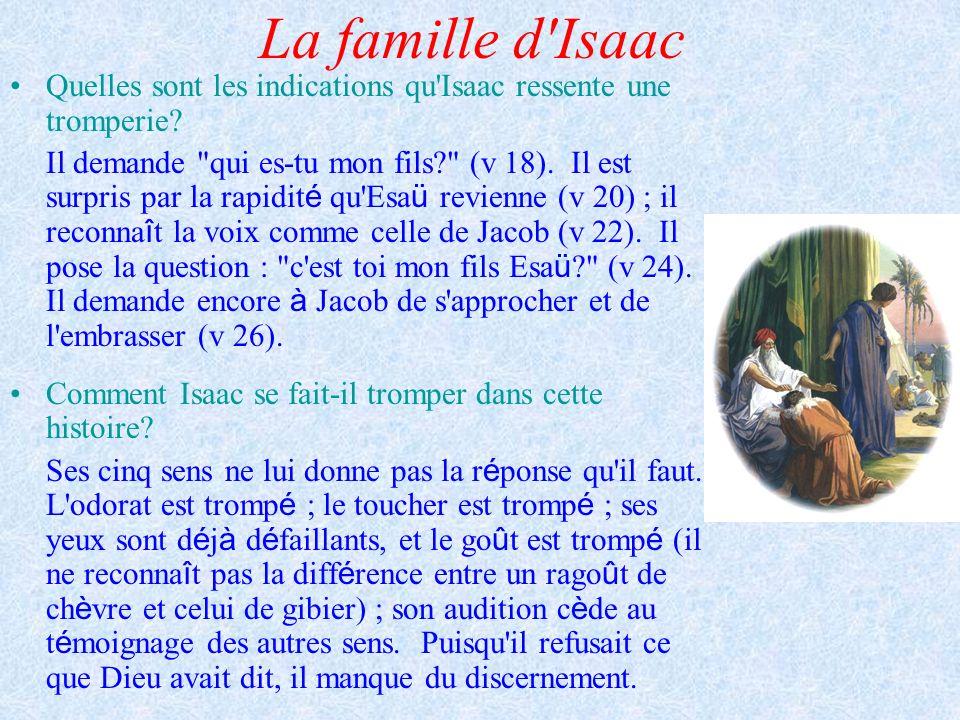La famille d Isaac Quelles sont les indications qu Isaac ressente une tromperie