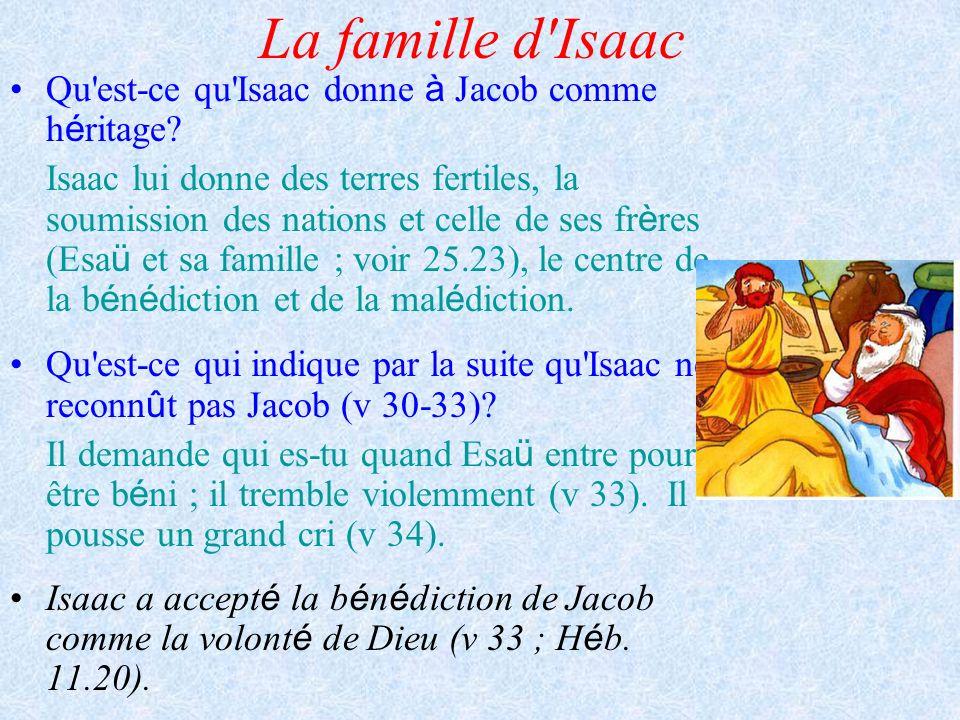 La famille d Isaac Qu est-ce qu Isaac donne à Jacob comme héritage