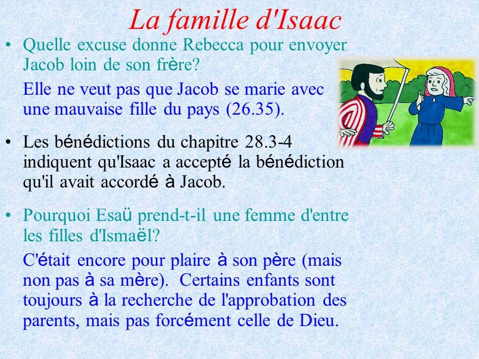 La famille d Isaac Quelle excuse donne Rebecca pour envoyer Jacob loin de son frère
