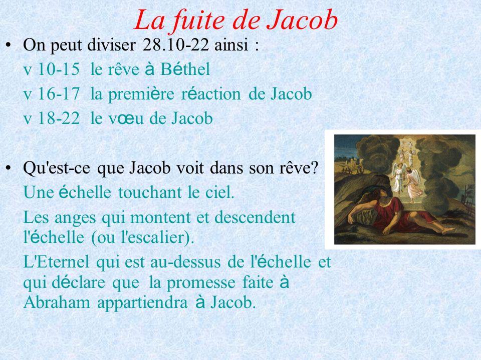 La fuite de Jacob On peut diviser 28.10-22 ainsi :