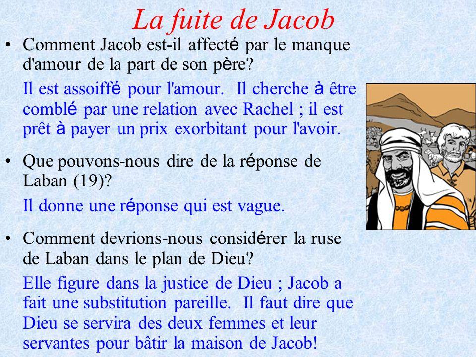La fuite de Jacob Comment Jacob est-il affecté par le manque d amour de la part de son père