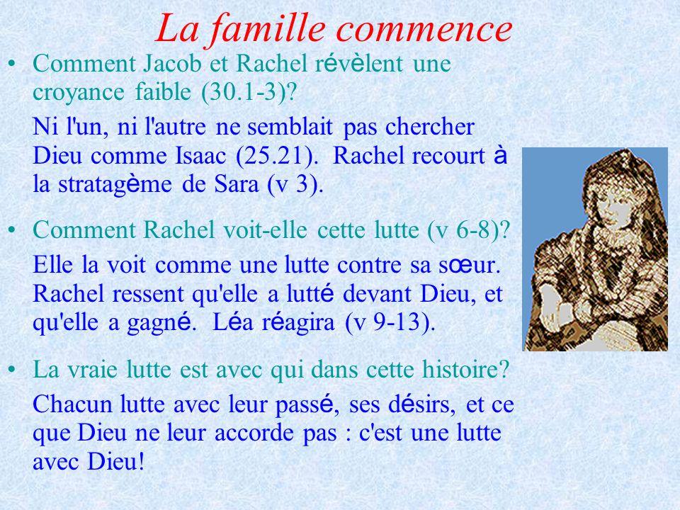La famille commence Comment Jacob et Rachel révèlent une croyance faible (30.1-3)