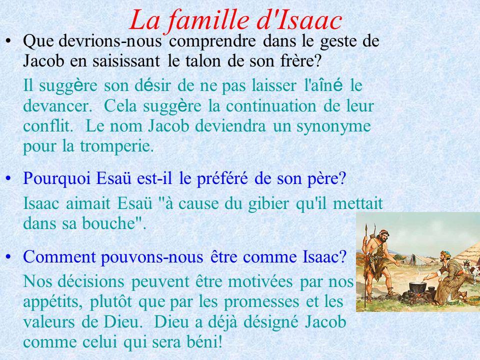 La famille d Isaac Que devrions-nous comprendre dans le geste de Jacob en saisissant le talon de son frère