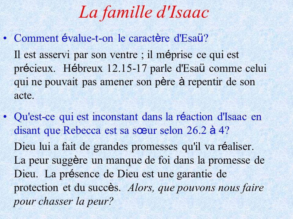 La famille d Isaac Comment évalue-t-on le caractère d Esaü