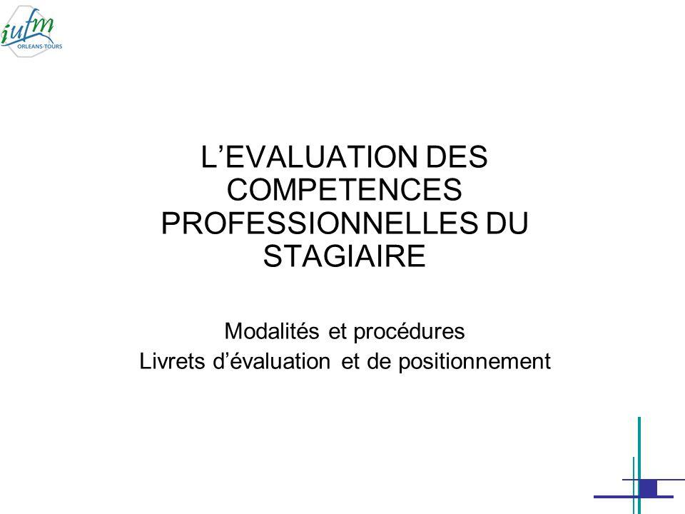 L'EVALUATION DES COMPETENCES PROFESSIONNELLES DU STAGIAIRE