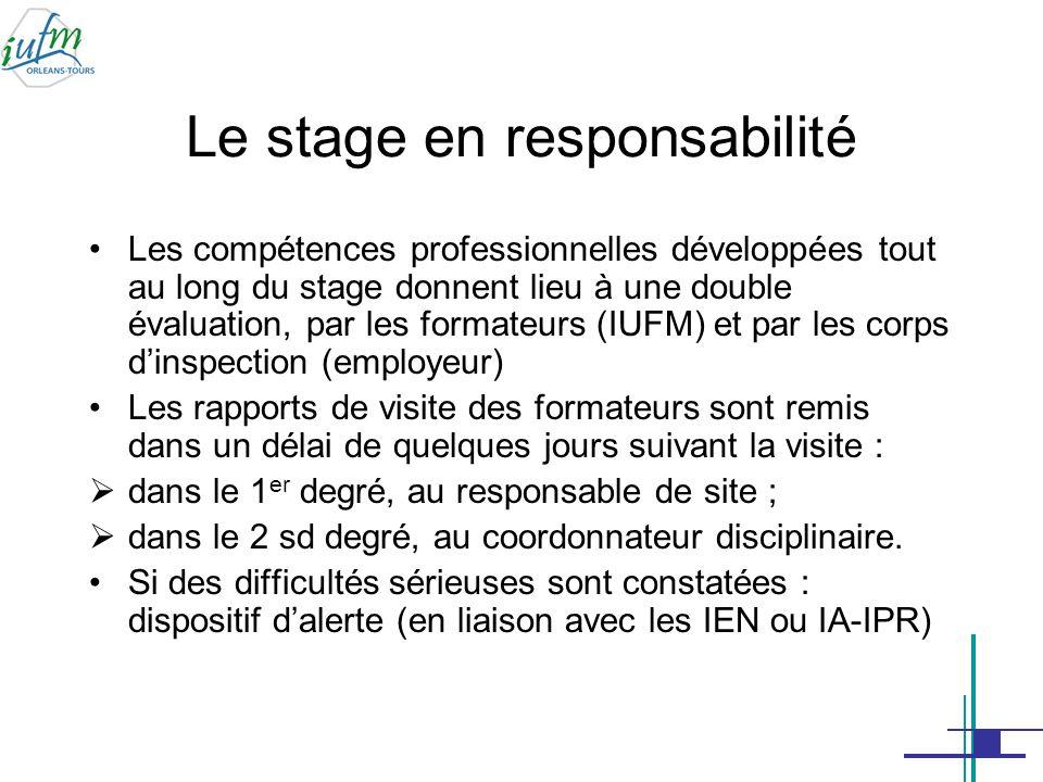 Le stage en responsabilité