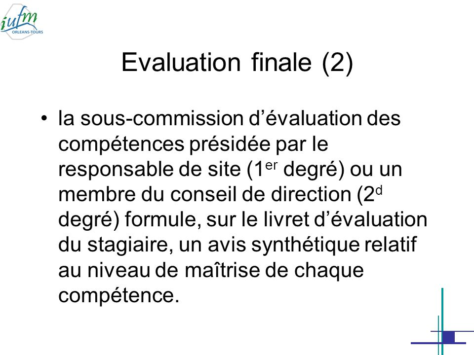 Evaluation finale (2)