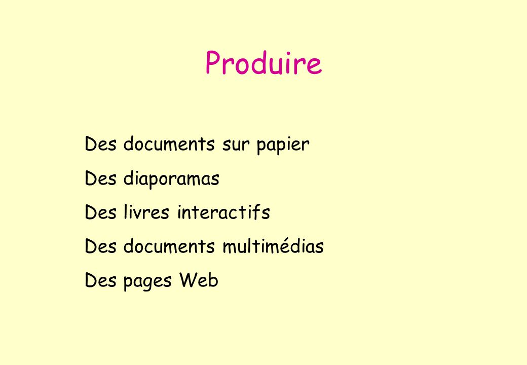 Produire Des documents sur papier Des diaporamas
