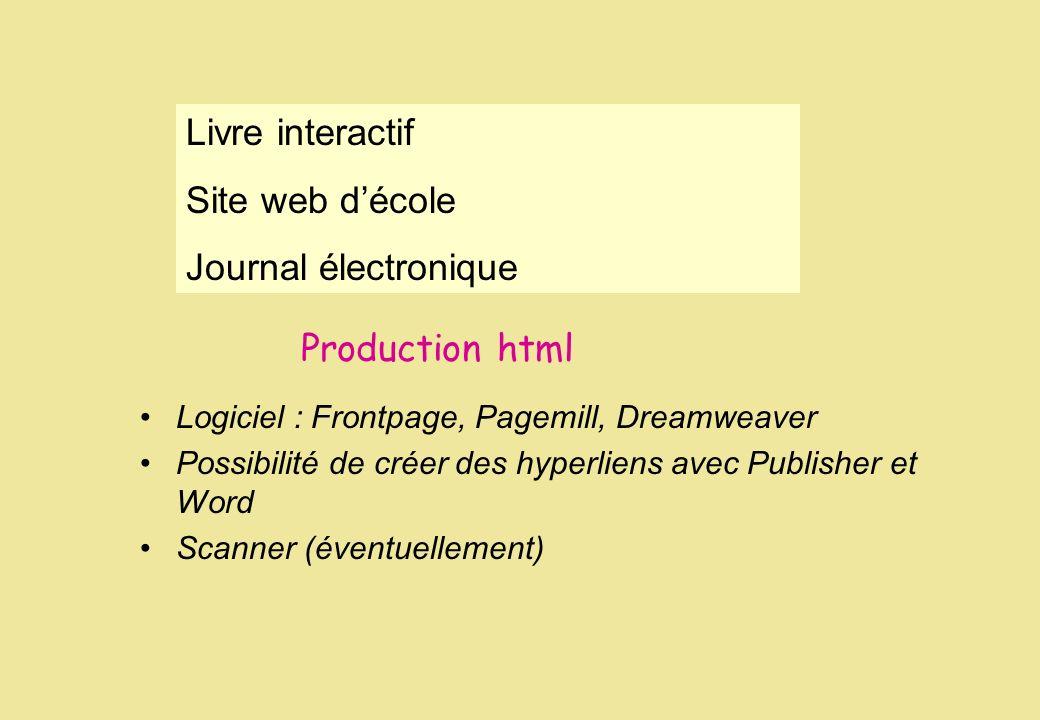 Livre interactif Site web d'école Journal électronique Production html
