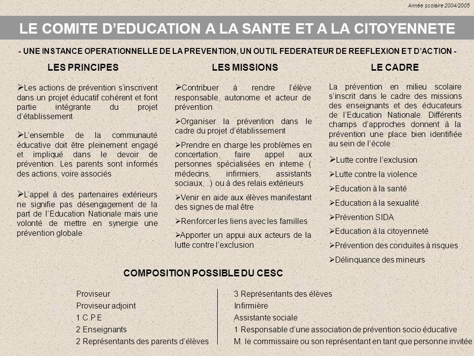LE COMITE D'EDUCATION A LA SANTE ET A LA CITOYENNETE