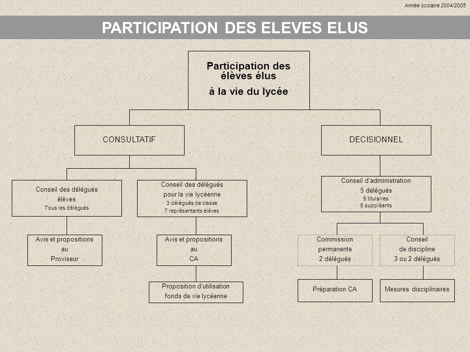 PARTICIPATION DES ELEVES ELUS Participation des élèves élus