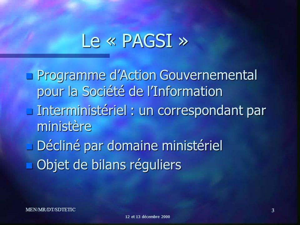 Le « PAGSI » Programme d'Action Gouvernemental pour la Société de l'Information. Interministériel : un correspondant par ministère.