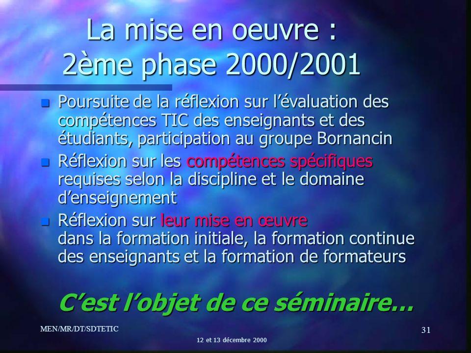 La mise en oeuvre : 2ème phase 2000/2001