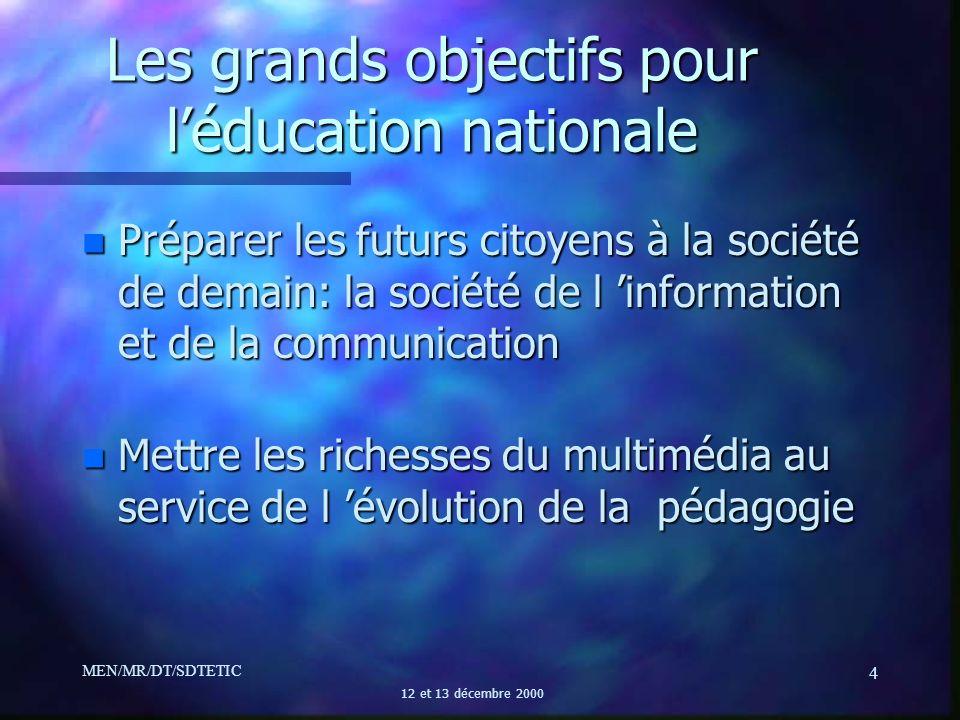 Les grands objectifs pour l'éducation nationale