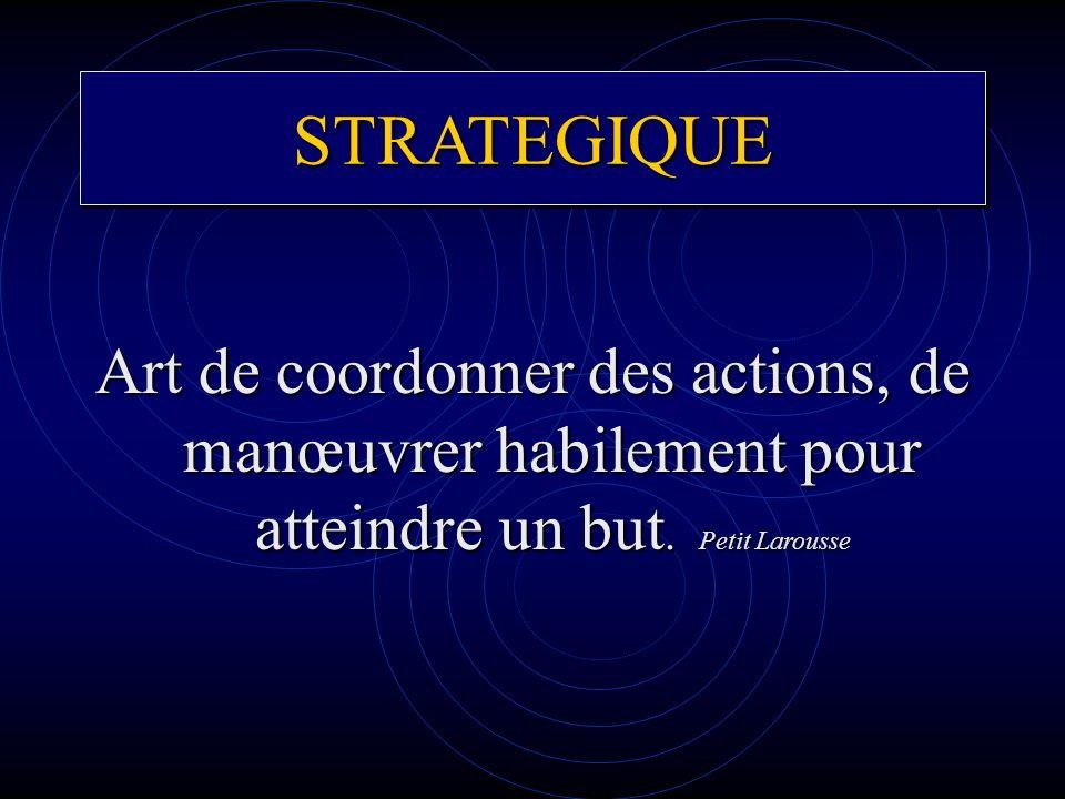 STRATEGIQUE Art de coordonner des actions, de manœuvrer habilement pour atteindre un but.
