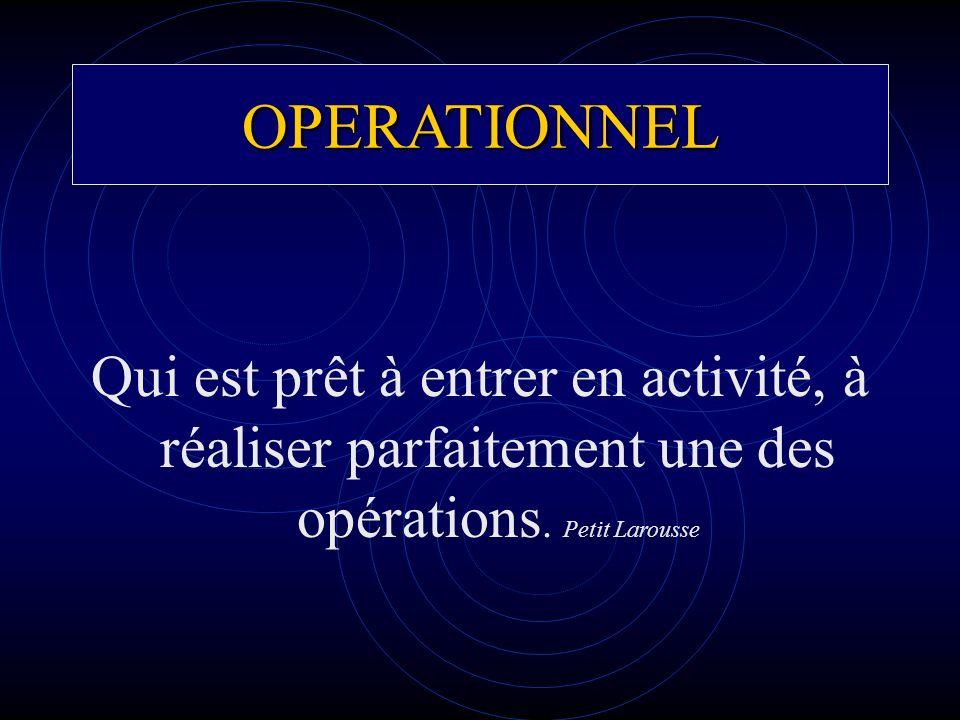 OPERATIONNEL Qui est prêt à entrer en activité, à réaliser parfaitement une des opérations.