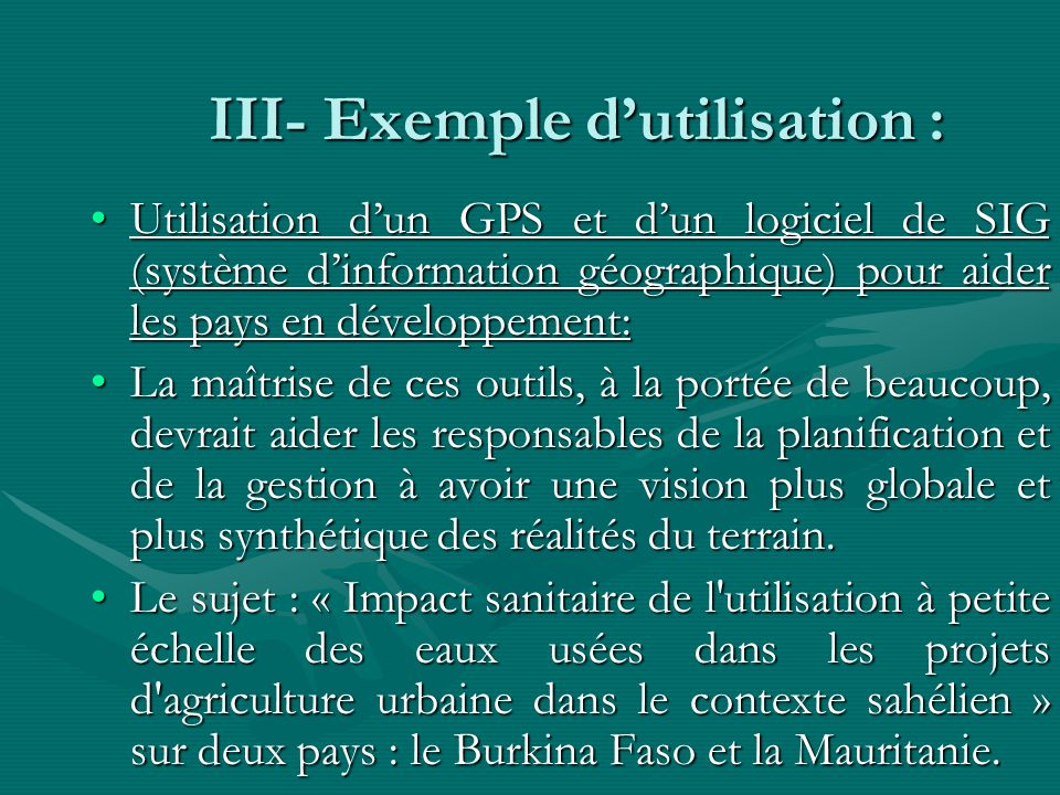 III- Exemple d'utilisation :