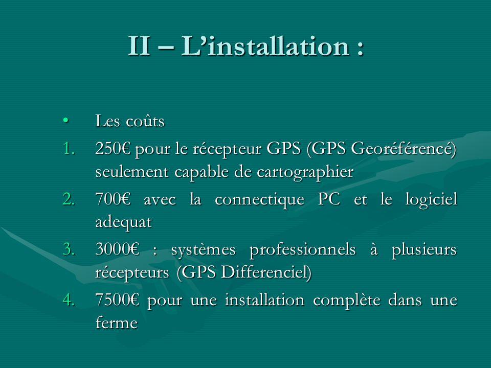 II – L'installation : Les coûts