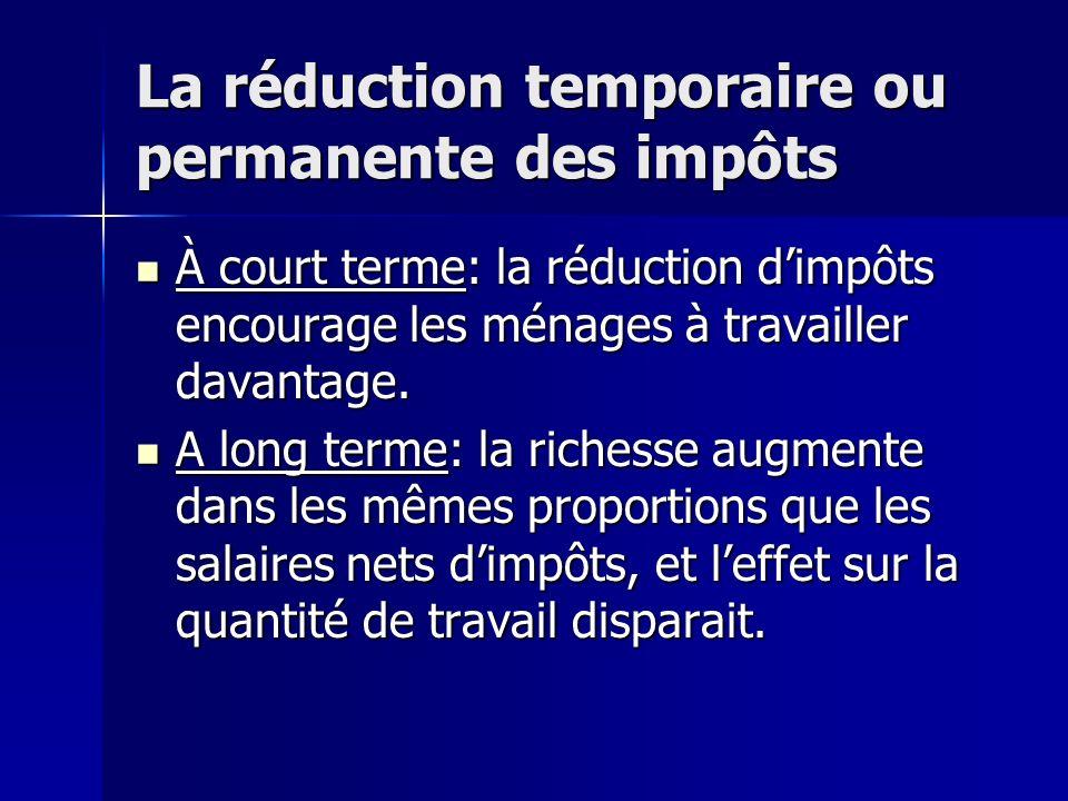 La réduction temporaire ou permanente des impôts