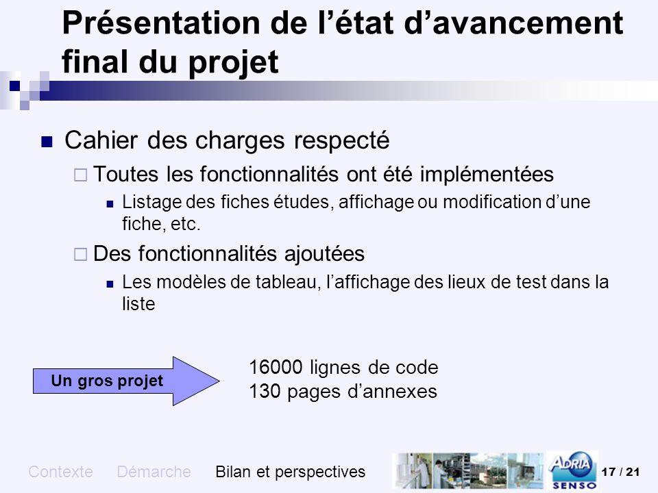 Présentation de l'état d'avancement final du projet