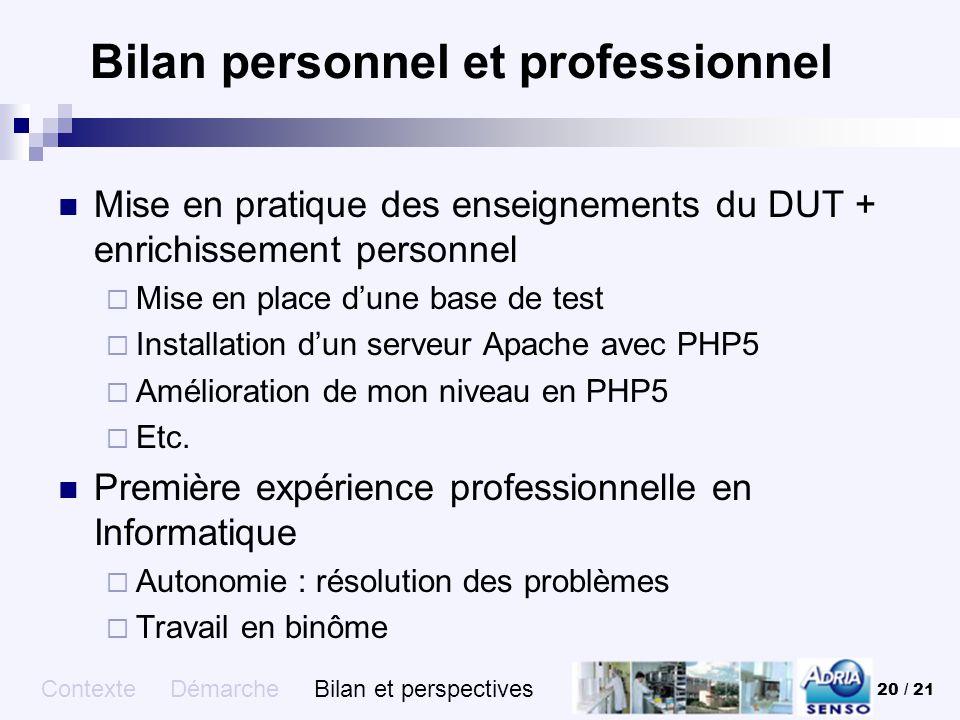 Bilan personnel et professionnel