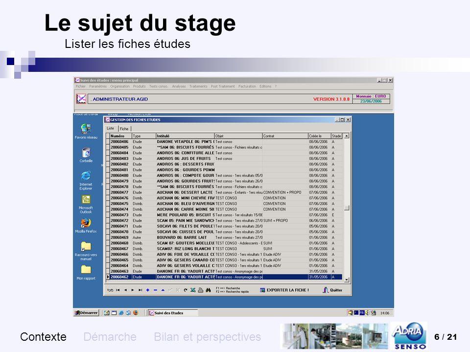 Le sujet du stage Lister les fiches études