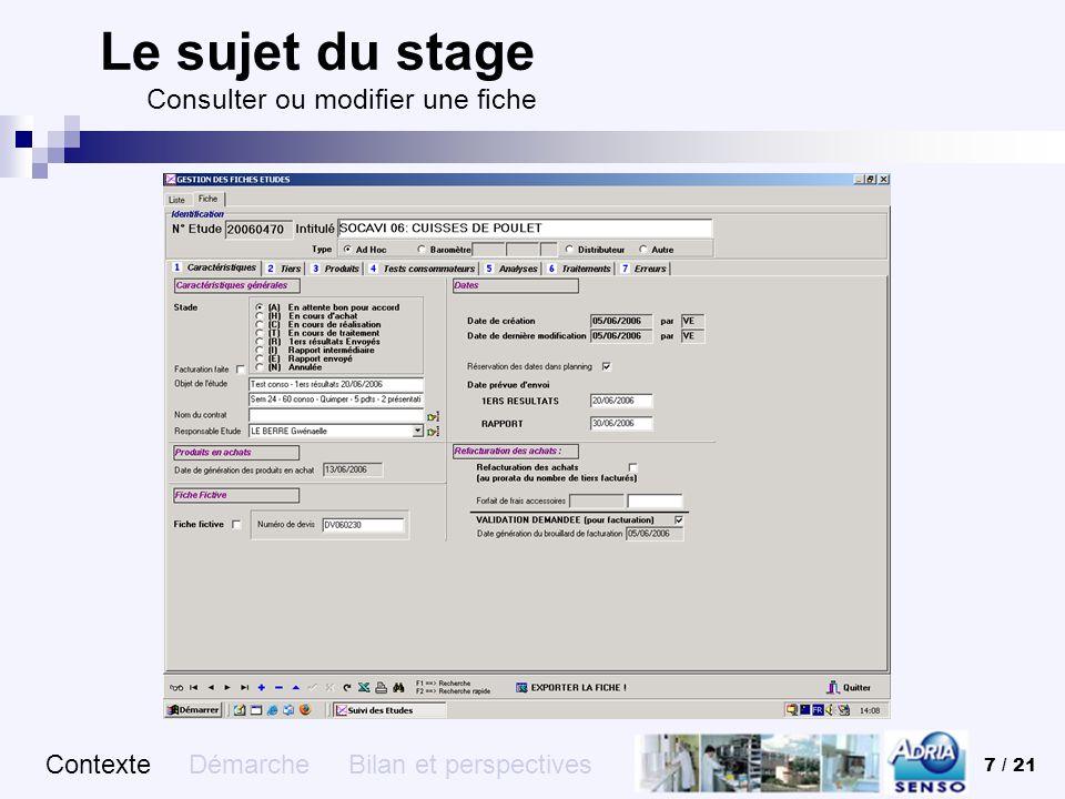 Le sujet du stage Consulter ou modifier une fiche
