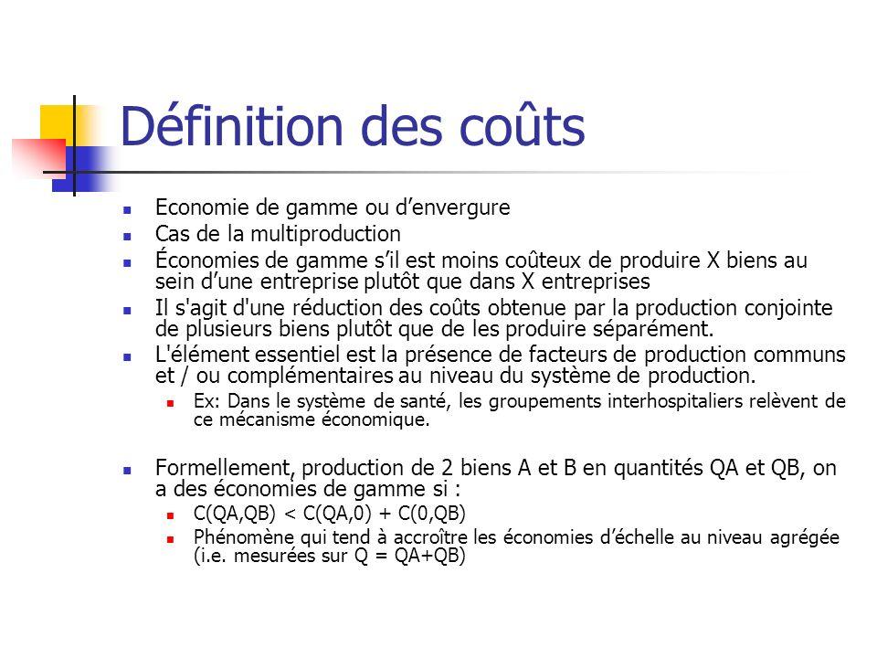 Définition des coûts Economie de gamme ou d'envergure