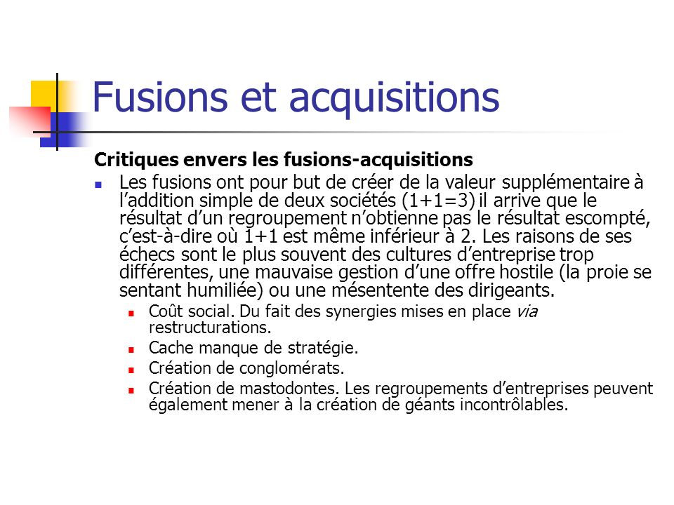 Fusions et acquisitions