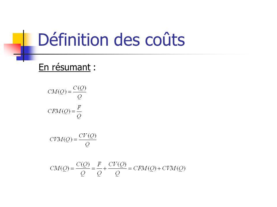 Définition des coûts En résumant :