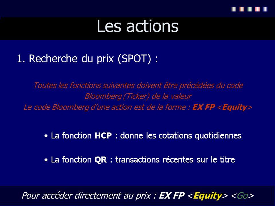 Les actions 1. Recherche du prix (SPOT) :