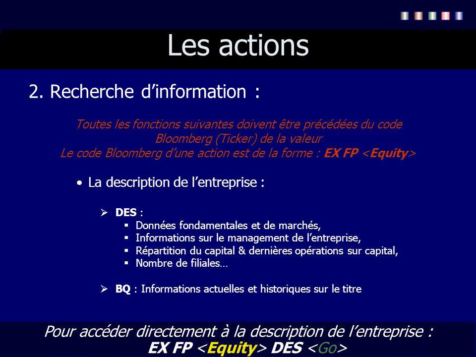 Les actions 2. Recherche d'information :