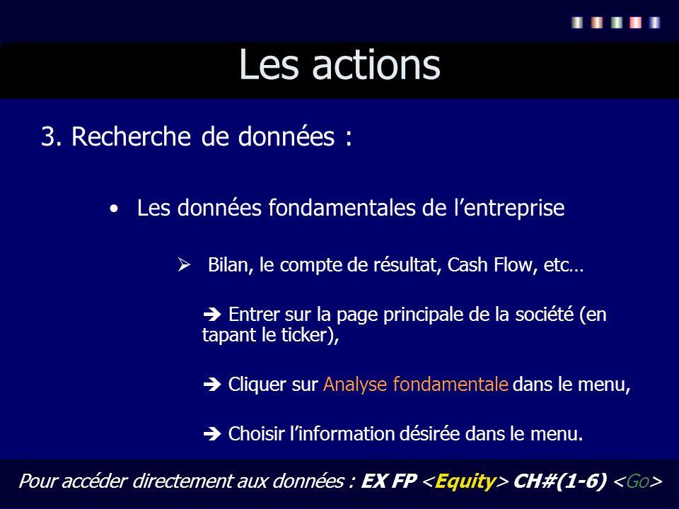Les actions 3. Recherche de données :