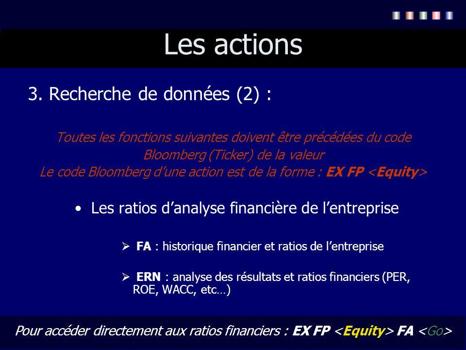 Les actions 3. Recherche de données (2) :