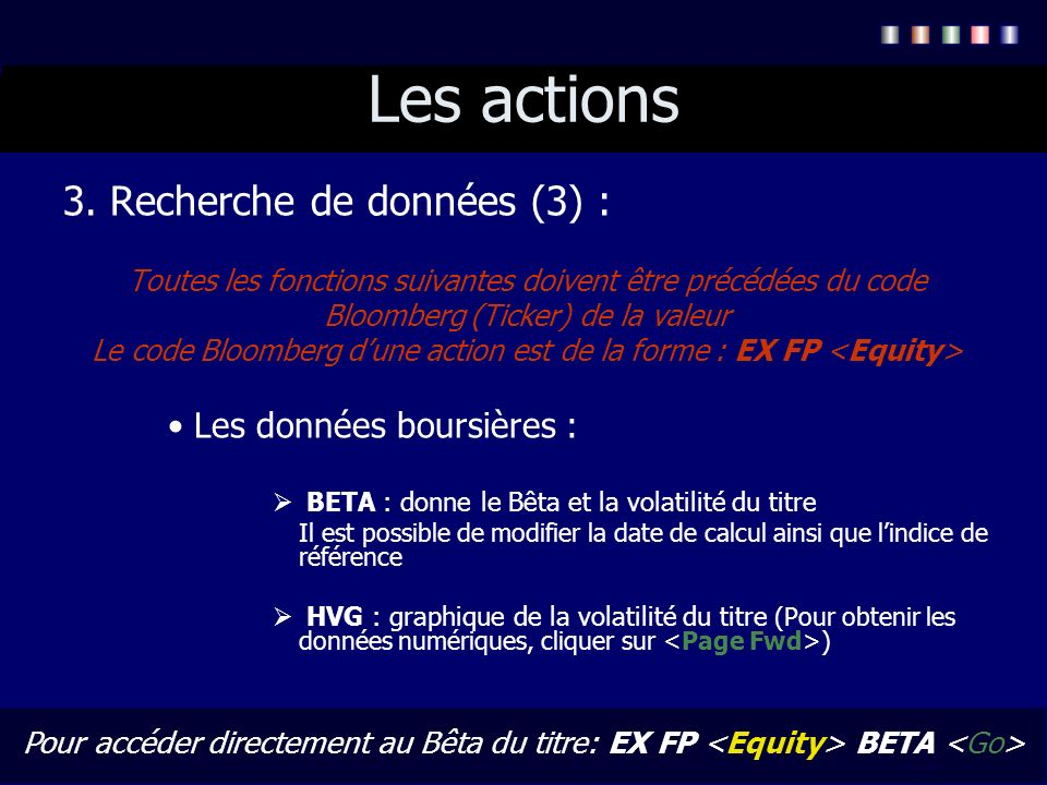 Les actions 3. Recherche de données (3) : Les données boursières :