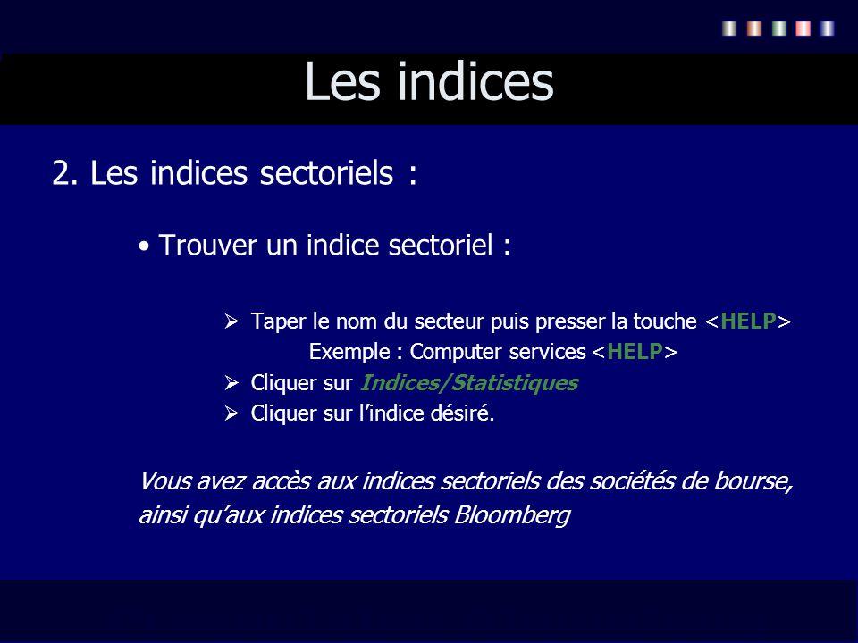 Les indices 2. Les indices sectoriels : Trouver un indice sectoriel :