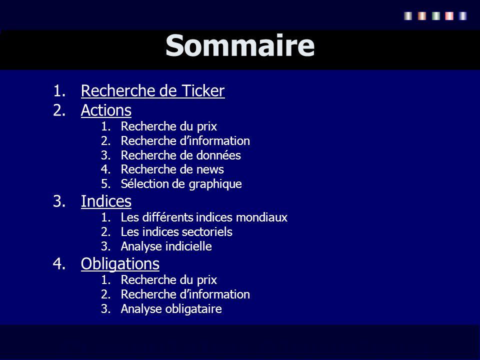 Sommaire Recherche de Ticker Actions Indices Obligations