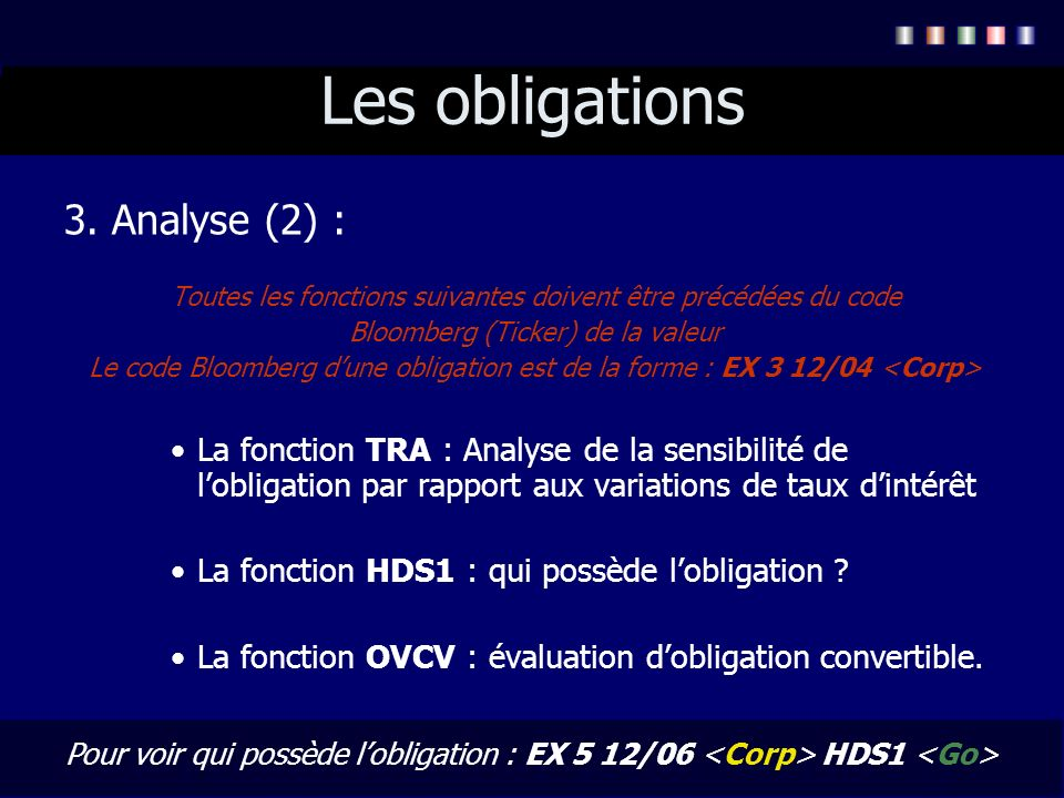 Les obligations 3. Analyse (2) :