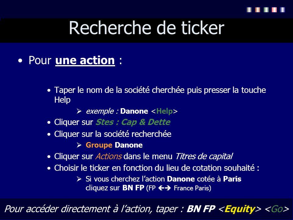 Recherche de ticker Pour une action :