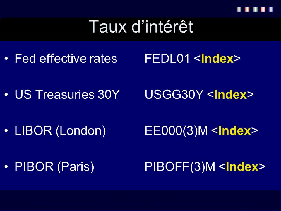 Taux d'intérêt Fed effective rates FEDL01 <Index>