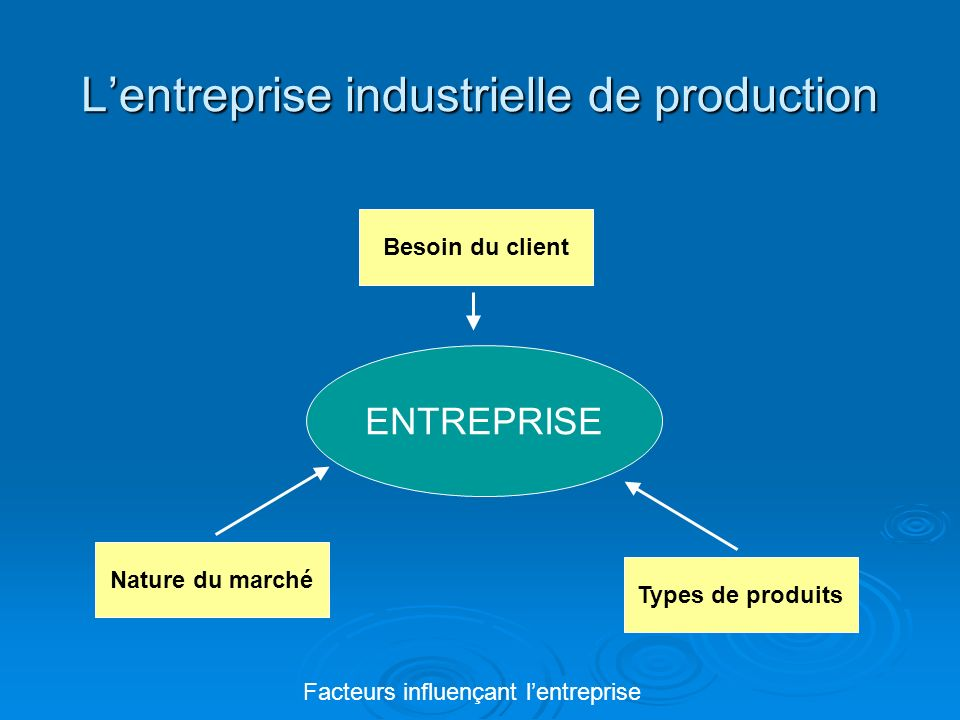 L'entreprise industrielle de production