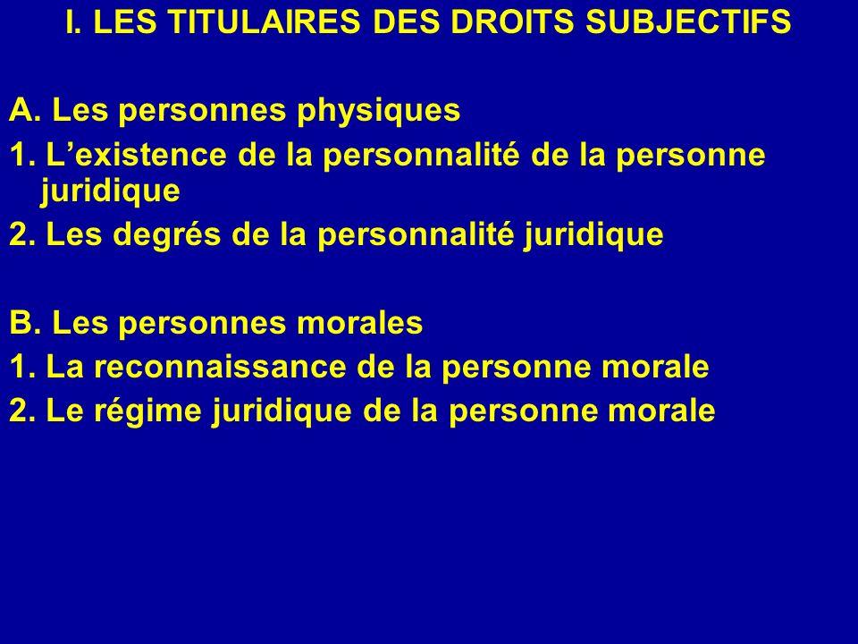 I. LES TITULAIRES DES DROITS SUBJECTIFS