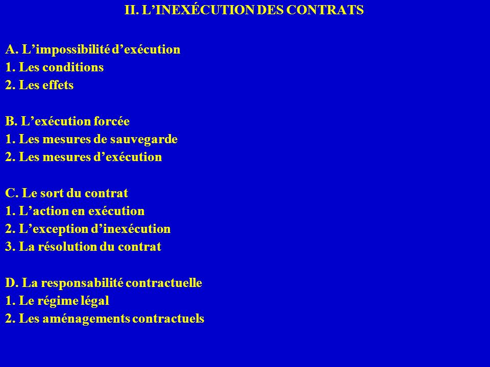II. L'INEXÉCUTION DES CONTRATS